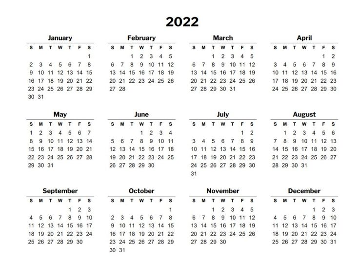 2022 calendar template | Calendar template, Free calendar ...