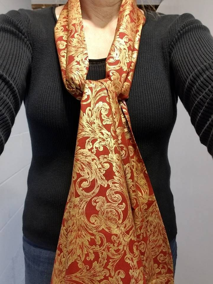 Dining Scarf Adult Bibs U2013 Red And Gold Holiday Scarf For Eating Out Or  Eating In