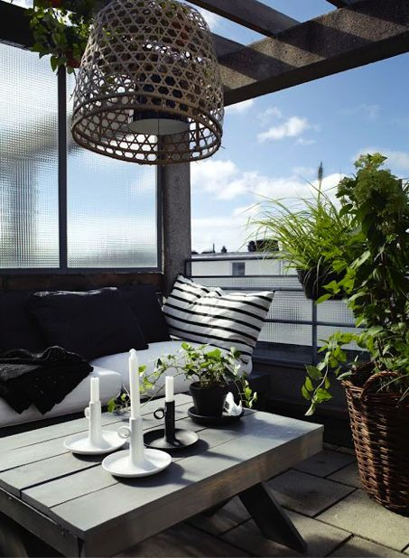Roof terrace in Stockholm, Sweden.  Designed by owner and interior designer Moa Lundberg.