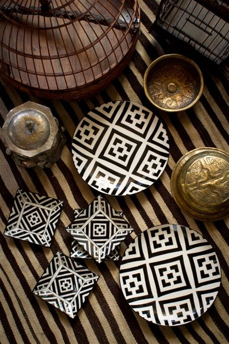 Mrs. Vitticore - Hand Painted Plates African Inspired Gold shapes geometric abstract brown LOVE !!