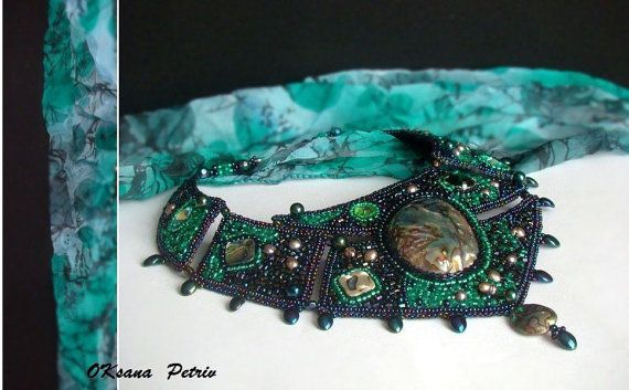 Bead Embroidered Elegant  Green Necklace Galaxy. by ODesing, $245.00