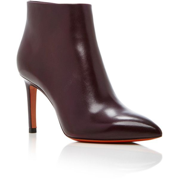 Santoni Leather Ankle Boots ($760) via Polyvore featuring shoes, boots, ankle booties, burgundy, short boots, leather ankle bootie, pointy-toe ankle boots, burgundy boots and leather boots