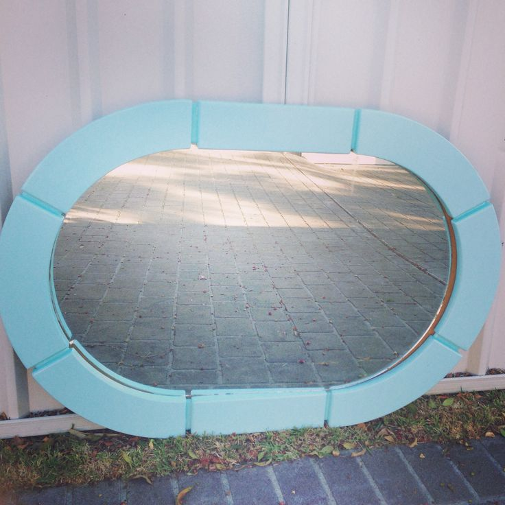 Beach house mirror in a quintessentially beachy light blue. Painted furniture. Shabby chic. Refurbished. Revamp. Distressed. DIY