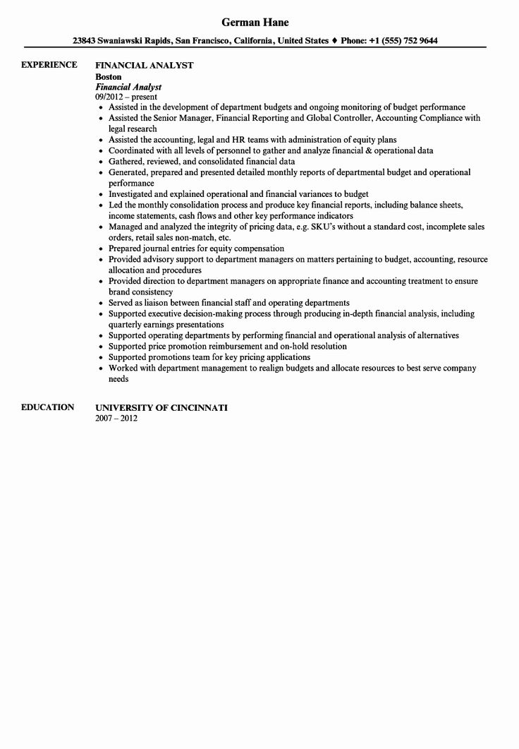 23 Finance Analyst Resume Examples in 2020 Resume