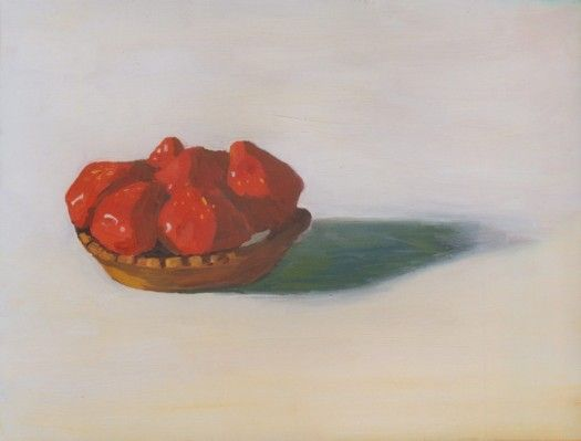 """""""Strawberry Tarte"""" One of a pair of paintings, both quite small.  The beginning of a series on desserts found in a Parisian pâtisserie."""