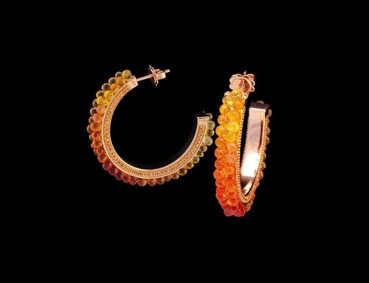 Anemone Earrings - #digregorio_milano #digregoriogioielli_milano #redgold #briolettesapphires #yellowsapphires #yellow #red #orange #degradè #sea #anemone #earrings #jewel #jewellery #finejewellery #luxury