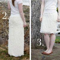 ruffle-jurk (met rufflestof) kan ook gedragen worden als maxi-rok en gewone rok