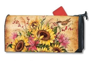 Mailbox Cover Sunflower Mix fall magnetic mailbox covers by Mailwraps. Decorate your mailbox with Mailwraps. Free shipping on $49 orders