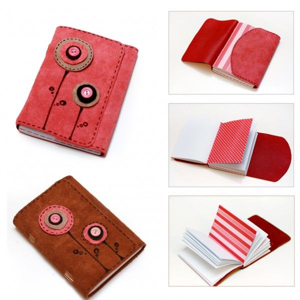 Cover is suede. Design handmade leather applications and buttons.Contains 80 pages.Size: about 110 x 145 mm