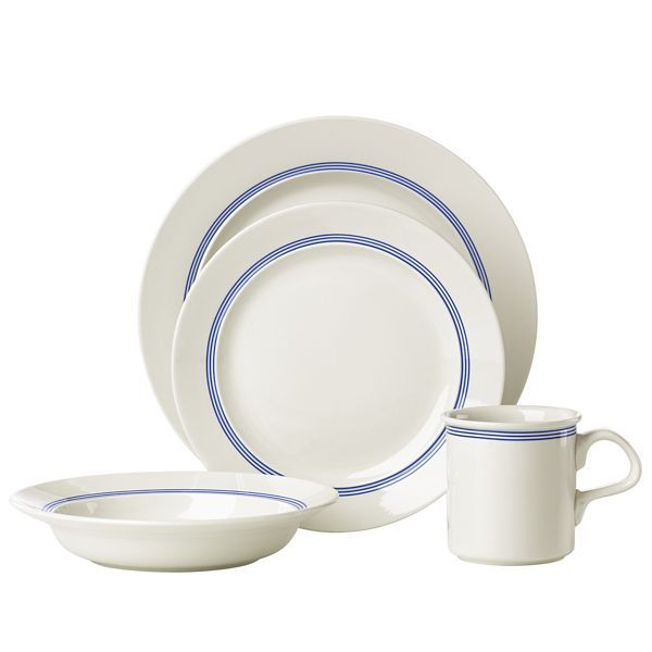 Caf 233 Blanc Stripe 8482 16pc Dinnerware Set Dinnerware