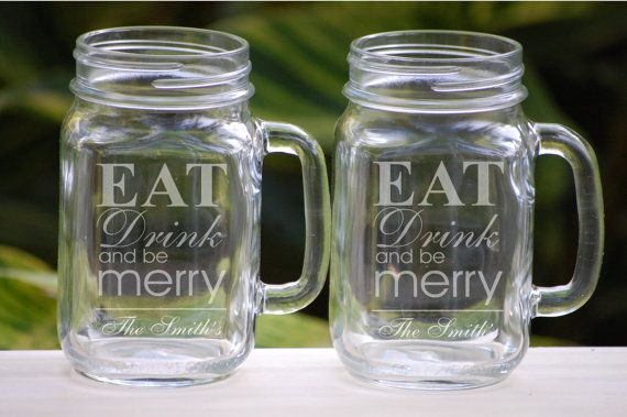 Personalized Christmas Mason Jar Wedding Mugs, Eat Drink and Be Merry, Chalkboard Inspired Holiday Glasses, Typography Housewarming Gifts