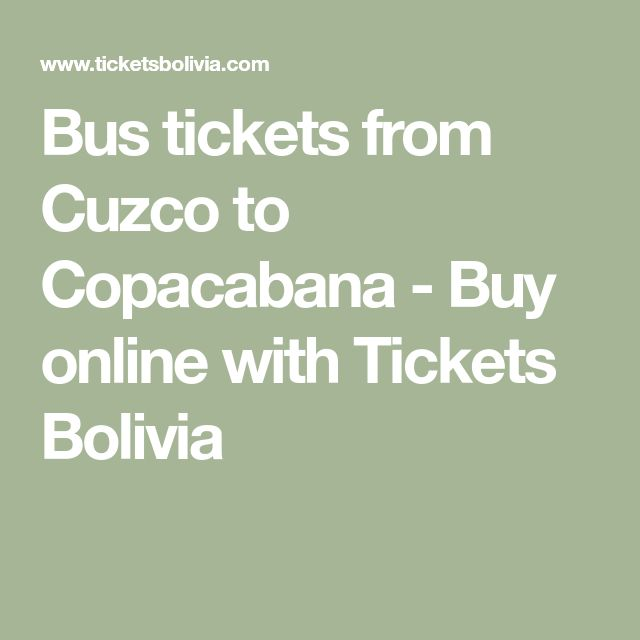 Bus tickets from Cuzco to Copacabana - Buy online with Tickets Bolivia