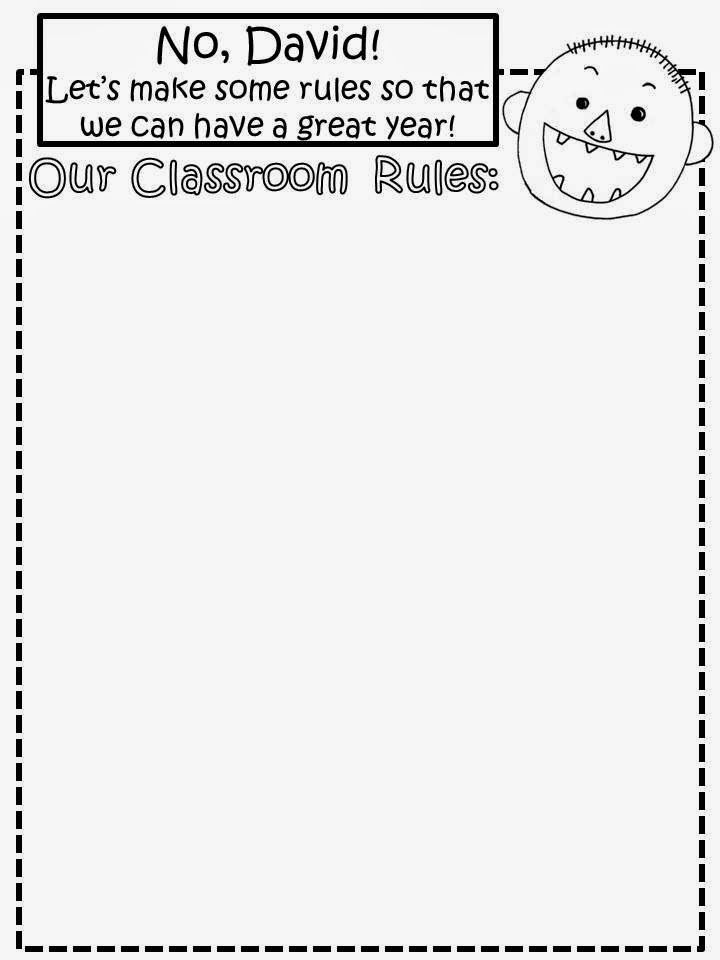 Free: No David (by David Shannon) Classroom Rule Making Sheet.  After reading the story, discuss how David needed some rules in his life.  Make a class set of school rules for the year. For Educational Purposes Only....Not For Profit.  Enjoy! Regina Davis  aka Queen Chaos at Fairy Tales And Fiction By 2.