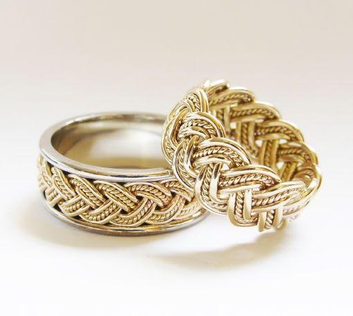 Hermosos anillos de oro trenzados