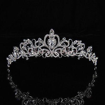 Braut Prinzessin Kristall Tiara Diademe Hochzeit Strass Krone Haarschmuck Band