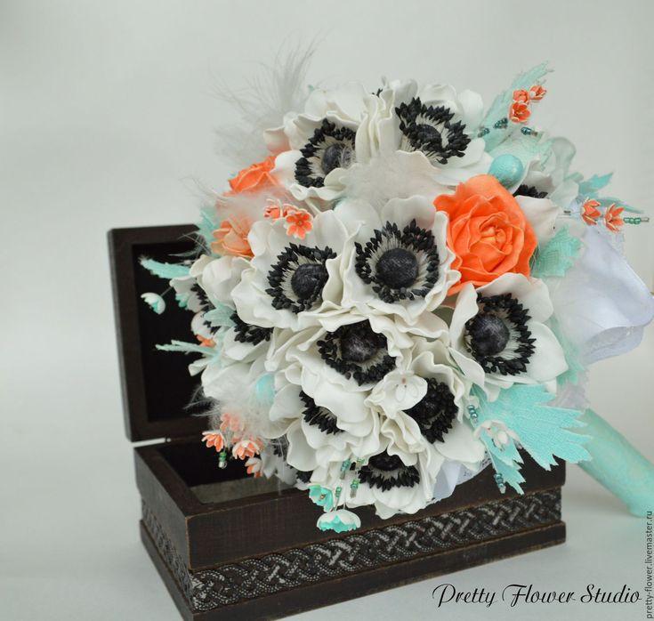Купить Букет невесты с розами и анемонами - комбинированный, свадьба, букет, букет невесты, свадебные аксессуары