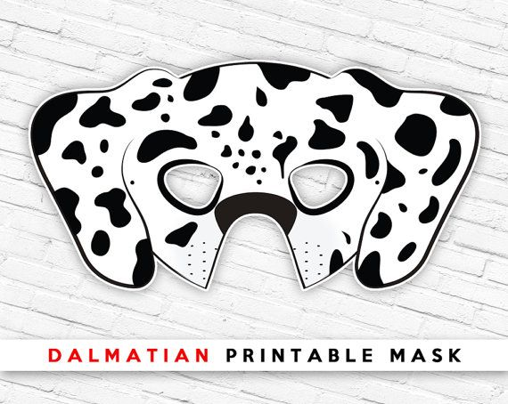 Dalmatian Printable Dog Mask Spotted Dog Mask by theRasilisk