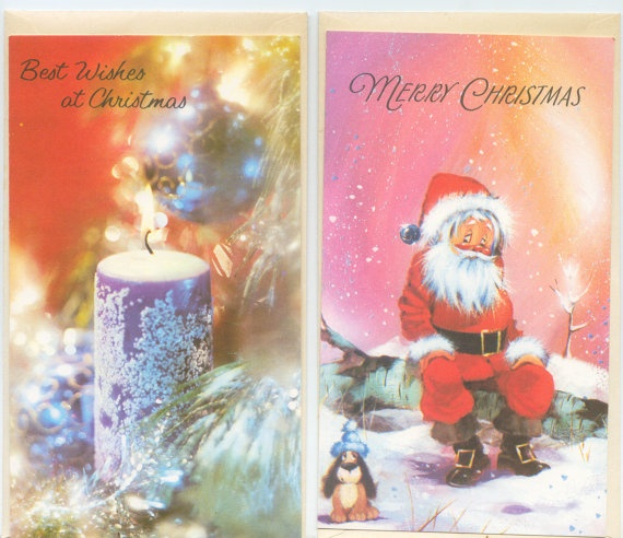 The 75 best vintage 1960s greeting cards images on pinterest set of two vintage unused christmas cards father christmas with a puppy and a candle m4hsunfo