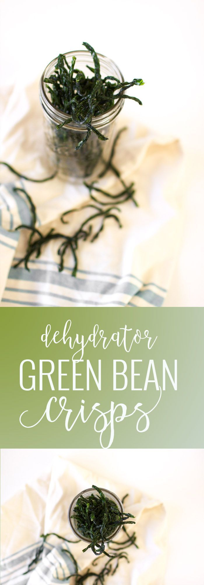 Green Bean Crisps | healthy snack recipes | healthy green bean recipes | recipes for green beans | dehydrated vegetable recipes | healthy chip recipes | healthy vegetable recipes | green bean recipe ideas || Oh So Delicioso