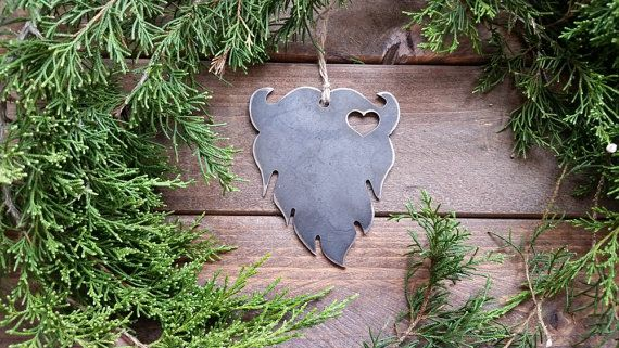 Beard Christmas Ornament Love Beards Heart Rustic Metal Christmas Tree Ornament Holiday Gift Industrial Decor Wedding Favor By BE Creations