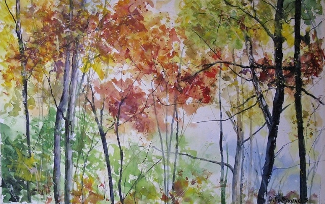 """And """"Fall Branches II"""", also a watercolor and white gouache."""