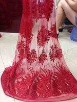 На складе продвижение YYL015 хороший горный хрусталь красный сексуальная роскошные сетки французский кружевной ткани для свадебного платья / распиловки, Корабль DHL