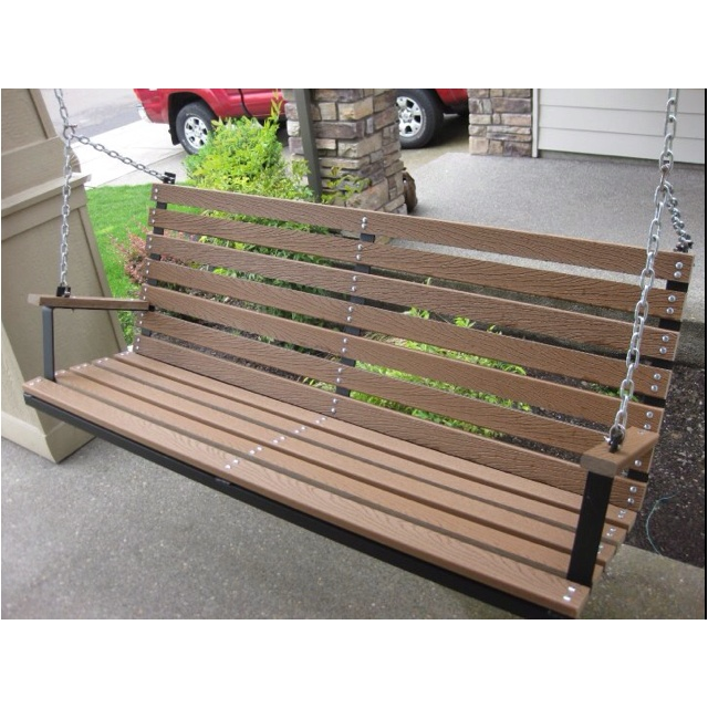 Swinging bench made from Trex decking.