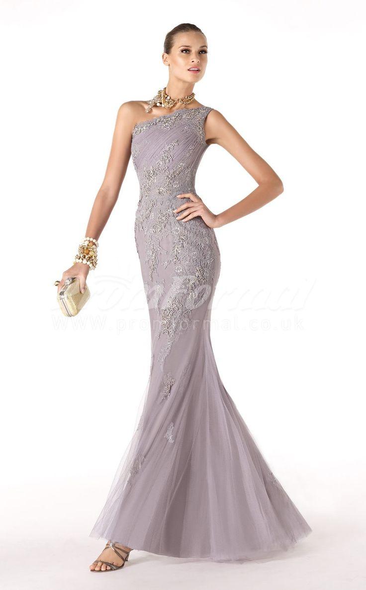 One Shoulder Lace And Velvet Chiffon Mermaid Lilac Cocktail Dress promuk.co.uk