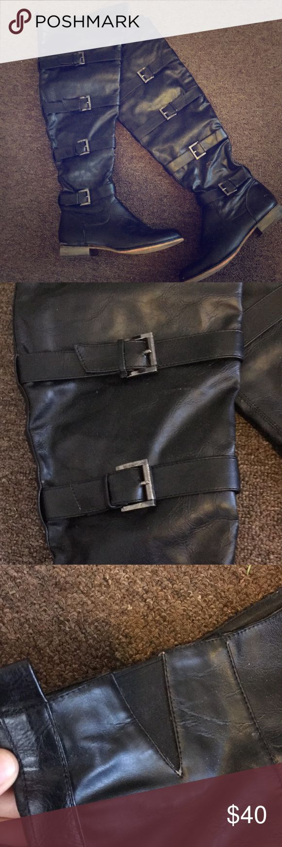 Over the Knee Buckle Boots Super sexy!!  Vegan Leather.  Spots with scuffing and signs of wear as pictured.    🌹Posh Ambassador🌷 📦Fast Shipping📫 ⭐️5 Star Rated⭐️ 💕THANK YOU❤️ Breckelles Shoes Over the Knee Boots