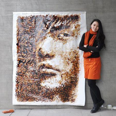 Portrait en traces de café !