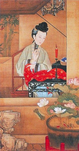 """十二美人圖。雍親王題書堂深居圖屏『燭下縫衣』,1709-1723。""""The Twelve Beauties,"""" """"Twelve Concubines of the Emperor Yongzheng.""""#3"""