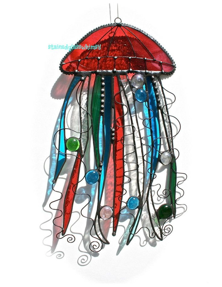 Stained Glass JELLYFISH Suncatcher - Cranberry, Turquoise, Emerald Green, Iridescent Clear - USA Handmade Original. $58.00, via Etsy.