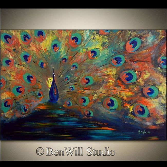 abstract peacock photos art | Abstract peacock painting - Contemporary art by Benwill