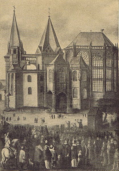 Aachen Cathedral. Presentation of the four Great Relics while the Aachen Pilgrimage.