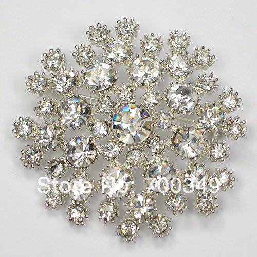 Посеребрение 12 piece/lot прозрачный кристалл горный хрусталь невесты свадьба ну вечеринку пром цветок булавка брошь C815 макияж-1