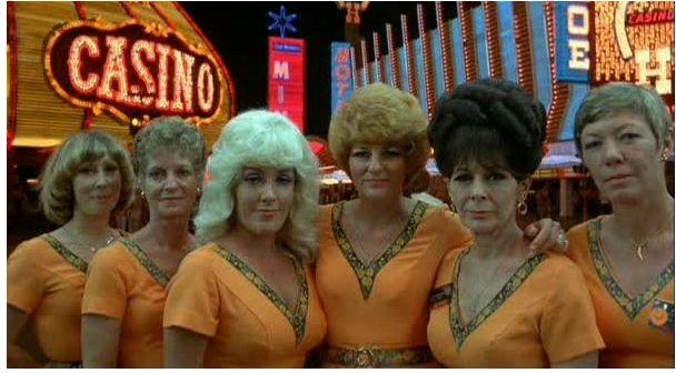 KOYAANISQATSI, Las Vegas waitresses, 1982, directed by Godfrey reggio