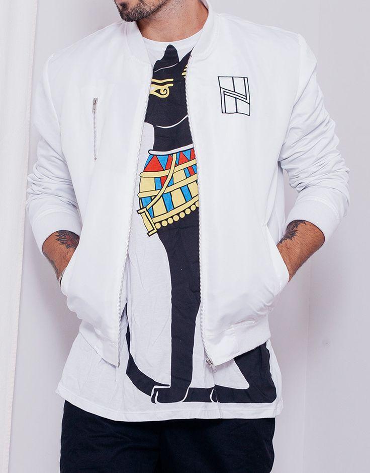 Nemis Logo Bomber Jacket White