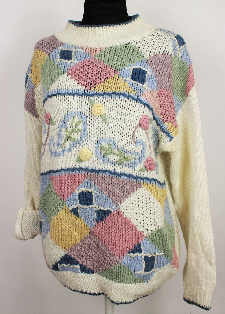 You are looking at a gorgeous multi coloured jumper in good condition but note it does have a mark/stain as pictured on one of the cuffs. Probably come off in the wash. Has padded shoulders, 80's original ! | eBay!