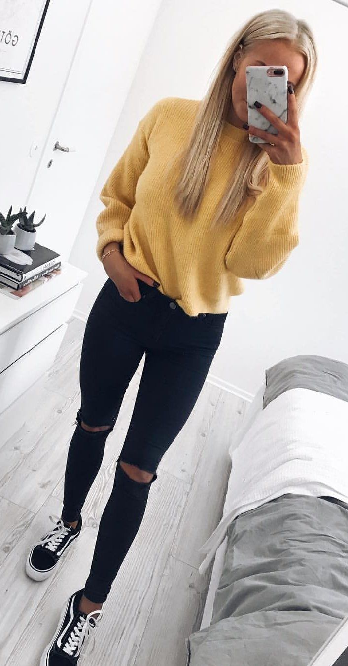 #fall #outfits women's yellow sweater with black shorts