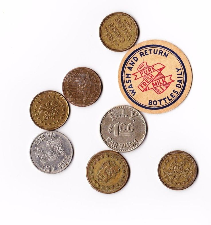 Vintage lot of 8 Coin/Tokens Brass American Eagle No Cash Value, Car Wash, MILK