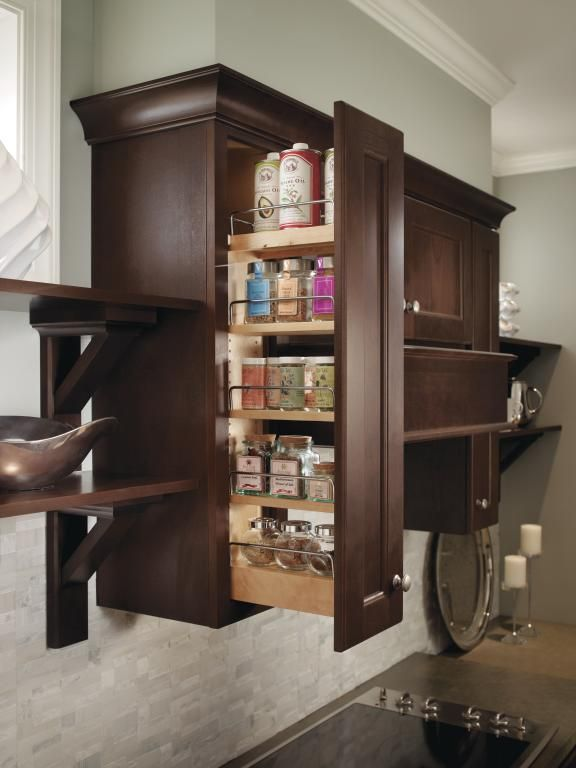 Homecrest Wall Pullout: Making the most of a slim space, the Wall Pullout is perfect for storage of spices, oils and other kitchen necessities.