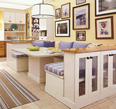 great storage in the half wall: Bath People, Kitchens Banquettes, Breakfast Nooks, Diy Living Rooms Storage, Kitchens Ideas, Diy Plays Rooms Storage, Kitchens Nooks, Ina Garten, Banquettes Kitchens Diy