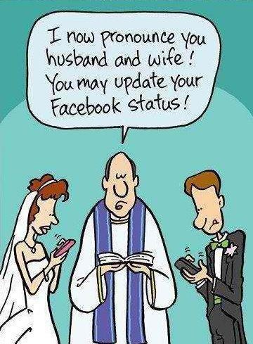 When to update your Facebook status?Modern Wedding, Wedding Humor, Social Media, Get Married, Funny Stuff, So True, Marriage, Socialmedia, True Stories