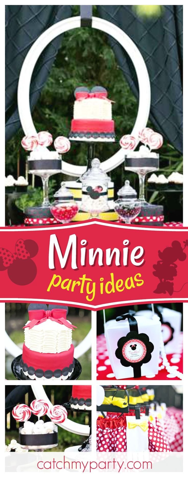 Take a look at this pretty Minnie Mouse 5th birthday party! The Minnie Mouse costums are so cute!! See more party ideas and share yours at CatchMyparty.com #minniemouse #minnieparty