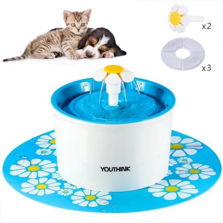 Cat Supplies Flower Automatic Electronic Pet Cat Dog Water Drinking Fountain Bowl Filter 1.6l