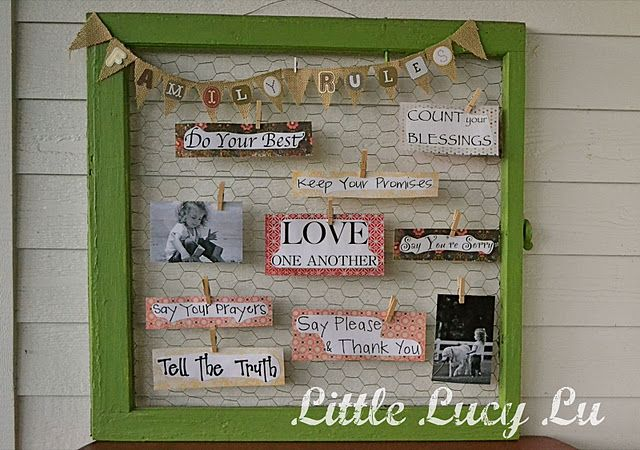 A chicken wire window like this could be used for just about anything. What a cute and crafty cork/magnet board alternative!