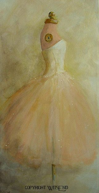 ballet Tutu painting original ooak canvas still life by 4WitsEnd
