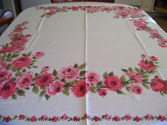 Vintage Tablecloth 42x54 inches by AnnaViolets on Etsy