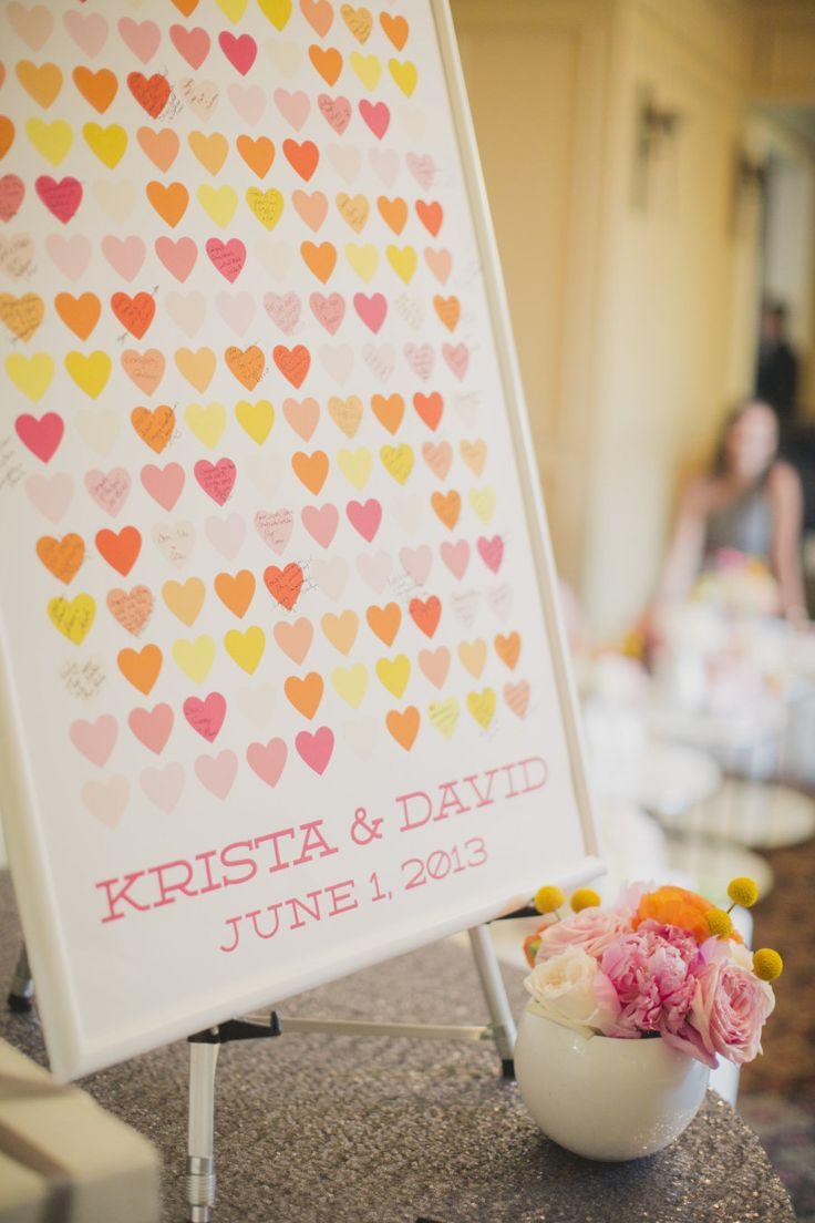 Peachwik custom guestbook poster at bright and colorful pink, orange, yellow and gray weddding at Burlington Golf and Country Club | Planning and Design by www.kjandco.ca | Photography by Elizabeth In Love |  Read more - http://www.stylemepretty.com/2013/09/04/burlington-ontario-wedding-from-kj-co-beth-ty-in-love/