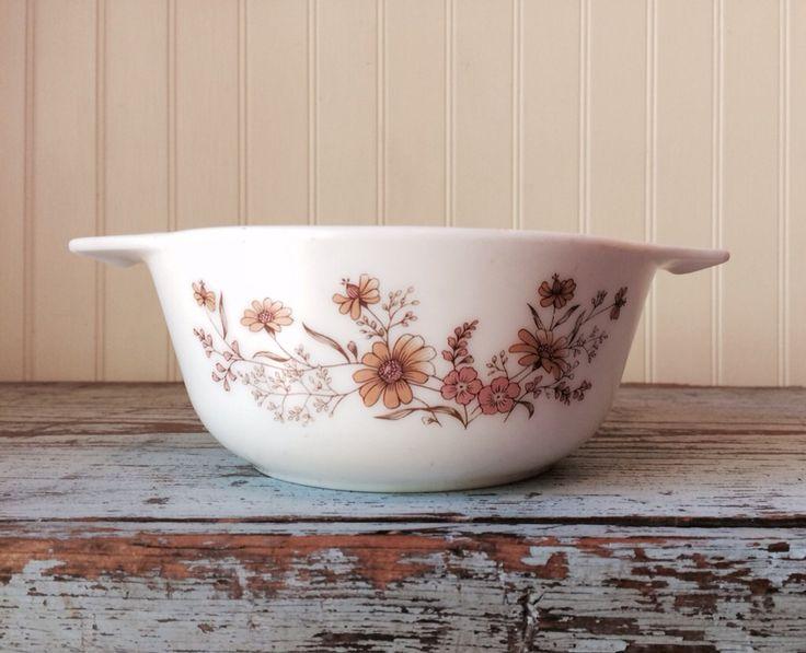 Vintage  Autumn Pyrex Casserole Dish Milk Glass Baking Dish Serving Dish Made in England by CottageBlu on Etsy